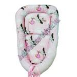 Babaágynemű szett - rózsaszín gólyás