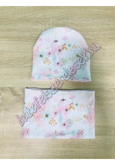 Sapka - csősál - menta-rózsaszín unikornisos