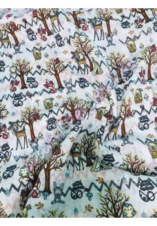 Textil pelenka - bézs erdei állatos
