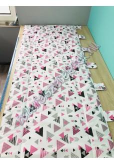 Falvédő - rózsaszín-szürke háromszöges
