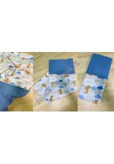 Kék-barna macis nyári dupla géz takaró