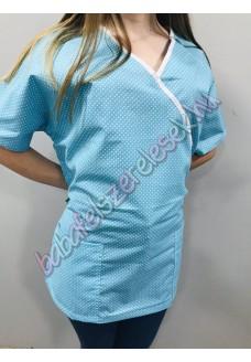 Orvosi-Nővérke tunika - türkizkék pöttyös