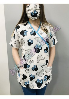 Orvosi-Nővérke tunika - kék mickey egeres