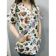 Orvosi-Nővérke tunika - őszi erdei állatos
