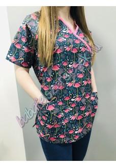 Orvosi-Nővérke tunika - pink flamingós