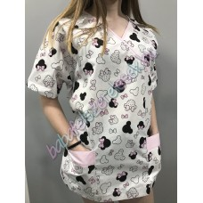 Orvosi-Nővérke tunika - rózsaszín minnie fejes