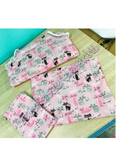 Ovis szett - rózsaszín-fekete cicás