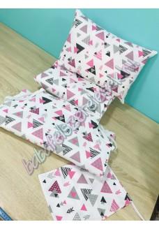 Ovis szett - rózsaszín-szürke háromszöges