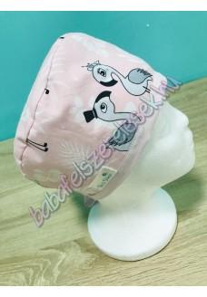 Műtős sapka - pasztell flamingós