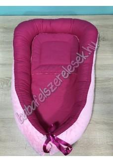 Babafészek - pink + pihe-puha rózsaszín minky