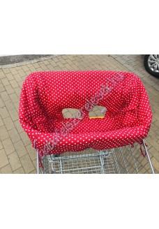 Piros pöttyös bevásárlókocsi huzat