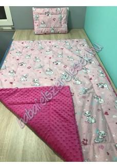 rózsaszín-fehér cicás prémium ágynemű