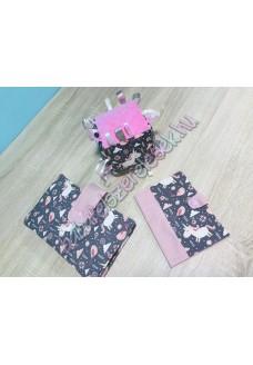 Púder rózsaszín unikornisos babaváró csomag