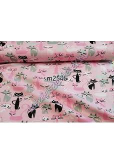 Rózsaszín-fekete cicás anyagminta