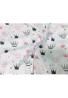 Textil pelenka - rózsaszín koronás
