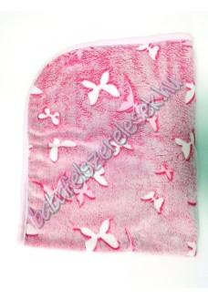 Rózsaszín pillangós - pihe-puha pléd