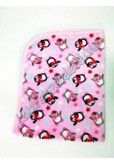 Rózsaszín pingvines - pihe-puha pléd