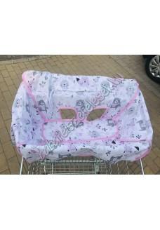 Rózsaszín-szürke állatos bevásárlókocsi huzat