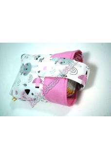 Rózsaszín-szürke állatos csatos pelenkatároló