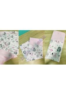 Rózsaszín-szürke állatos nyári dupla géz takaró