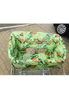 Zöld teknősös bevásárlókocsi huzat